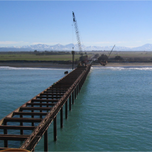 Temporary construction trestle for Fonterra wastewater outfall at Clandeboyle, South Canterbury
